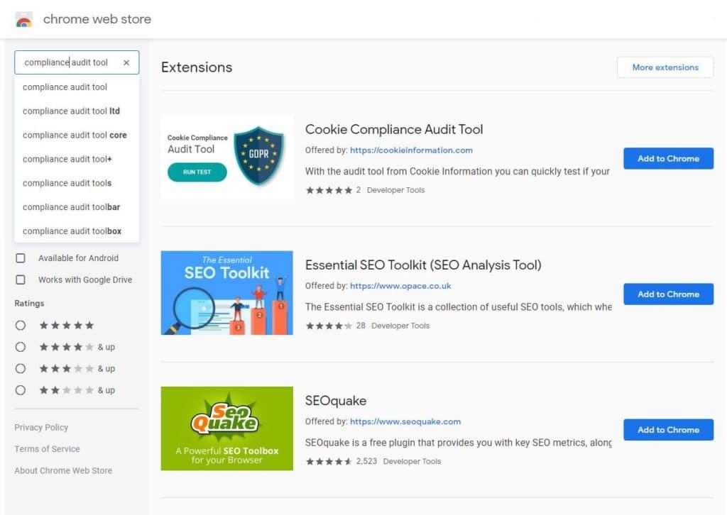 Search Chrome Webshop