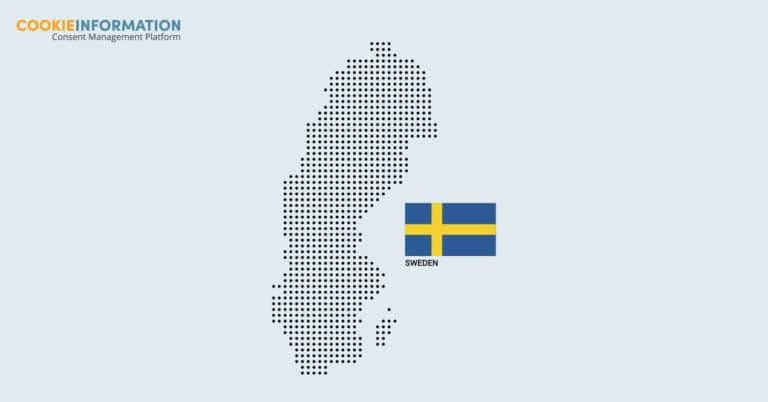 6 things to know about cookies and consent in Sweden. Image of Sweden in dots with flag.