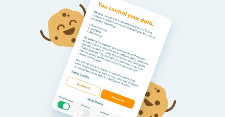 Image of a GDPR compliant cookie banner with happy cookies around it