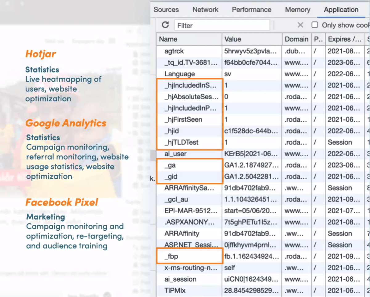 Image showing a list of cookies in a browser using inspect function