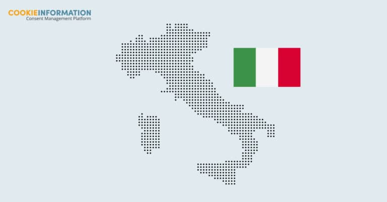 Image of Italy with an Italian flag text: new cookie guidelines in Italy