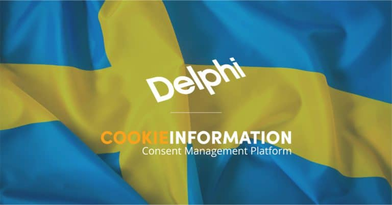 Image of Swedish flag with logos of Swedish law firm Delphi and Cookie Information